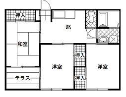 コーポ直江[203号室]の間取り