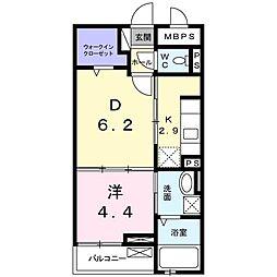 レジデンス松井山手 3階2Kの間取り