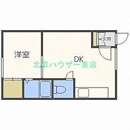 北海道札幌市東区北二十五条東9丁目の賃貸アパートの間取り