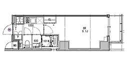 都営三田線 芝公園駅 徒歩4分の賃貸マンション 3階1Kの間取り
