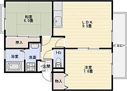 サンビレッジOKUNO(オクノ) C[1階]の間取り