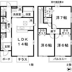 [テラスハウス] 大阪府豊中市上野西 の賃貸【/】の間取り