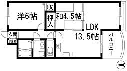 兵庫県宝塚市口谷西3丁目の賃貸アパートの間取り