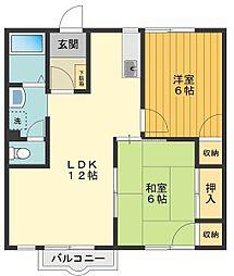 サンキエームK2[1階]の間取り
