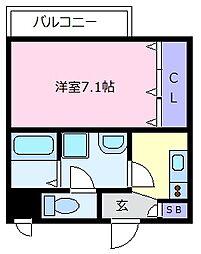Fstyle上田7丁目 2階1Kの間取り