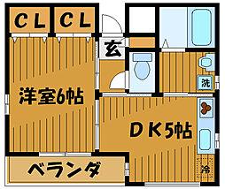 東京都府中市栄町の賃貸マンションの間取り