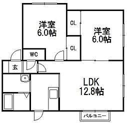 ヒルズ43[101号室]の間取り