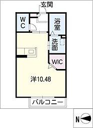 AC岡崎II 2階1Kの間取り