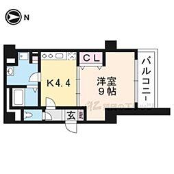 JR東海道・山陽本線 京都駅 徒歩9分の賃貸マンション 6階1Kの間取り