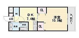 大阪府高石市羽衣2丁目の賃貸マンションの間取り