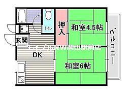 岡山県岡山市中区浜3丁目の賃貸アパートの間取り