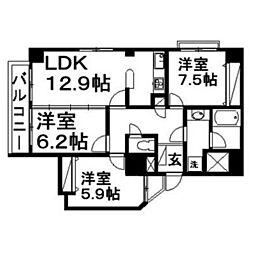 佐鳴湖パークタウンサウス[6階]の間取り