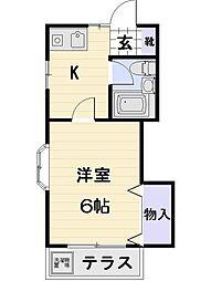 東京都調布市西つつじケ丘3丁目の賃貸アパートの間取り