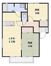 ファミールA・B棟[A201号室号室]の間取り
