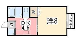 兵庫県姫路市南車崎1丁目の賃貸アパートの間取り