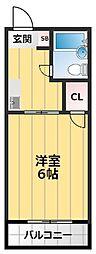 千里山コーポ 1階1Kの間取り