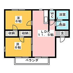 フォンターナB[2階]の間取り