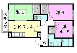 フォブール三笠 C棟[202 号室号室]の間取り
