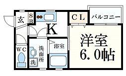 阪神本線 住吉駅 徒歩1分の賃貸アパート 3階1Kの間取り