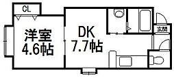 フラットK[3階]の間取り