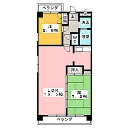 ユーハイムカシワバラ[6階]の間取り