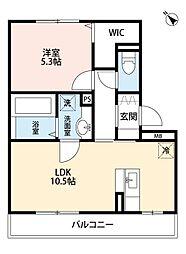 エスポワール祇園B[3階]の間取り