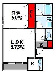 西鉄貝塚線 唐の原駅 徒歩4分の賃貸アパート 1階2Kの間取り