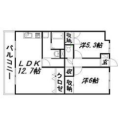 静岡県浜松市東区上西町の賃貸マンションの間取り