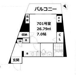 東京都品川区東大井2丁目の賃貸マンションの間取り