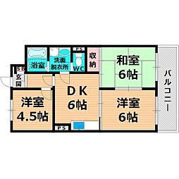 Osaka Metro谷町線 千林大宮駅 徒歩3分の賃貸マンション 3階3DKの間取り