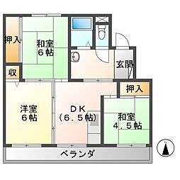ビレッジハウス芳賀2号棟[4階]の間取り