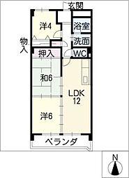 岩倉グリーンハイツDx[4階]の間取り