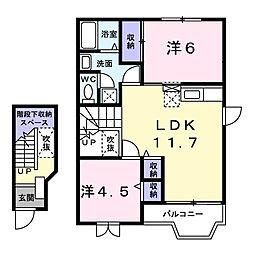 茨城県龍ケ崎市城ノ内3丁目の賃貸アパートの間取り