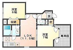 兵庫県加西市北条町古坂の賃貸アパートの間取り