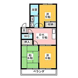 カーサエレガンテII[1階]の間取り