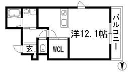 兵庫県宝塚市中筋山手2丁目の賃貸マンションの間取り