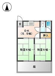 愛知県あま市中萱津親牧の賃貸アパートの間取り