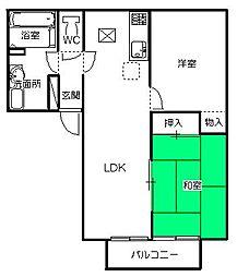 茨城県ひたちなか市はしかべ1丁目の賃貸アパートの間取り