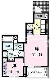 JR山陽本線 岡山駅 バス28分 青江北下車 徒歩7分の賃貸アパート 1階1Kの間取り