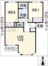 ヴィラルミナスB棟[2階]の間取り