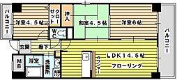 生島リバーサイドマンションD棟[401号室]の間取り