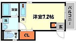 アクロス守口駅前アパートメント 3階ワンルームの間取り