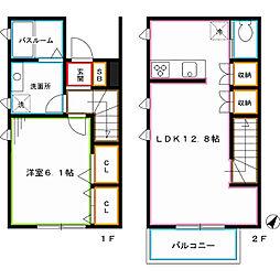西新宿ガーデンテラス 2階1LDKの間取り