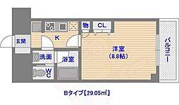 ドミール西新 7階1Kの間取り
