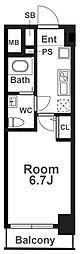 Osaka Metro千日前線 阿波座駅 徒歩1分の賃貸マンション 14階1Kの間取り