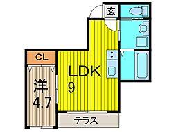 MACKビル 1階1LDKの間取り