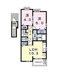 東京都東村山市青葉町2丁目の賃貸アパートの間取り