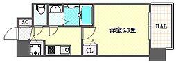 アドバンス大阪グロウス 13階1Kの間取り
