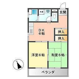 愛知県名古屋市西区中小田井2丁目の賃貸マンションの間取り