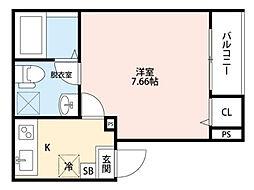 埼玉県草加市中央2の賃貸アパートの間取り